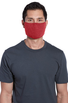 Adult Washable Cotton/Poly Three-Ply Face Masks - Heather Red