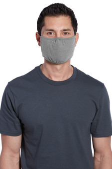 Adult Washable Cotton/Poly Three-Ply Face Masks - Light Heather Grey