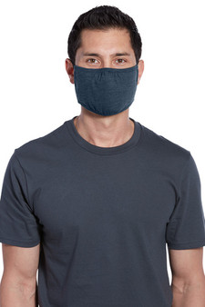 Adult Cotton/Poly Three-Ply Face Masks Bulk Products - Heather Navy