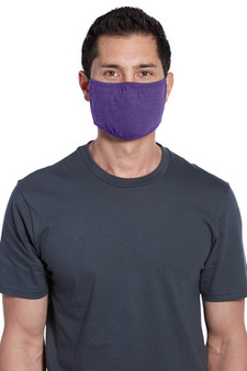 Adult Washable Cotton/Poly Three-Ply Face Masks - Heather Purple