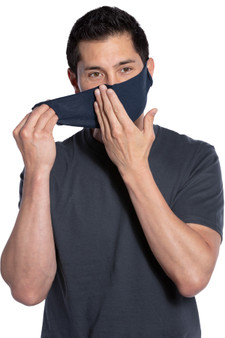 Man Putting On Navy Blue Single Layer Cotton No-Sew Face Mask