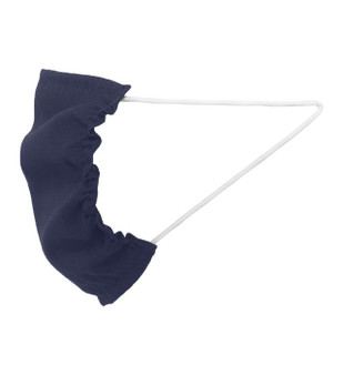 Navy Blue Polyester Fabric Single Layer Face Mask for COVID-19 Response - Side View