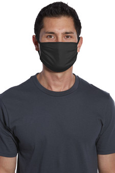 Black 100% Cotton Mask Small Bulk Pack of 5 Front View