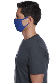 Deep Royal Blue Cotton Face Mask Side View