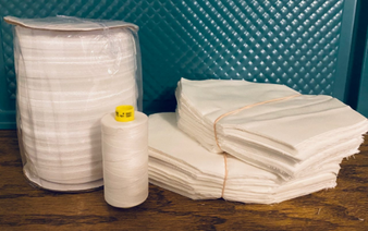 White 2-Ply Cotton Face Mask Making Kits - Pack of 500