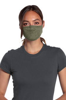 Olive Green Polyester and Cotton Face Masks with Adjustable Nose and Elastic Head Straps (5 Pack)