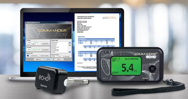 Commander Echo Downloader software wirelessly records and tracks pain algometer tests.
