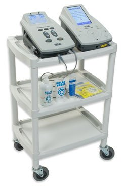 Mobile storage cart for e-wtim and ultrasound therapy machines and accessories. Store multiple devices and all ultrasound parts and accessories in one cart.