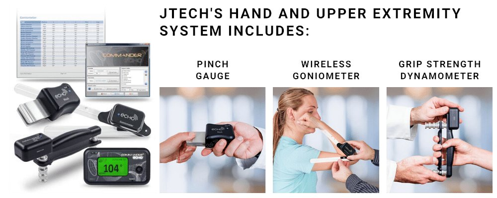 Perform muscle testing protocols to detect hand and upper extremity issues using pinch, grip and range of motion testing tools from JTECH Medical