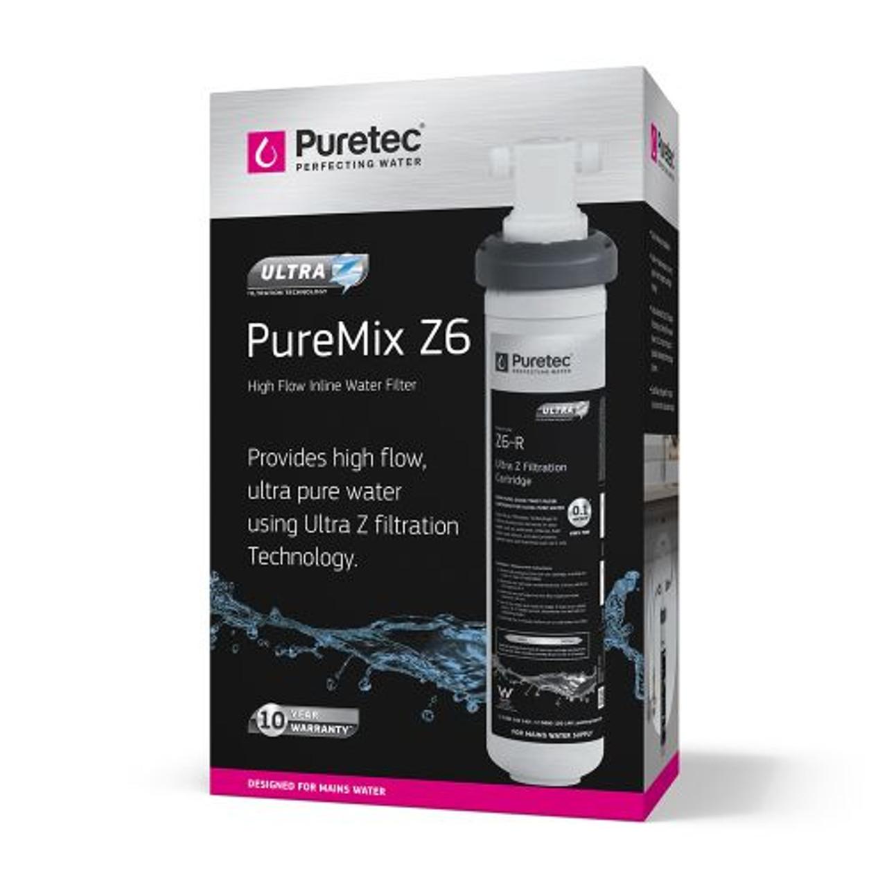 Puretec High Flow Inline Undersink Water Filter System In White