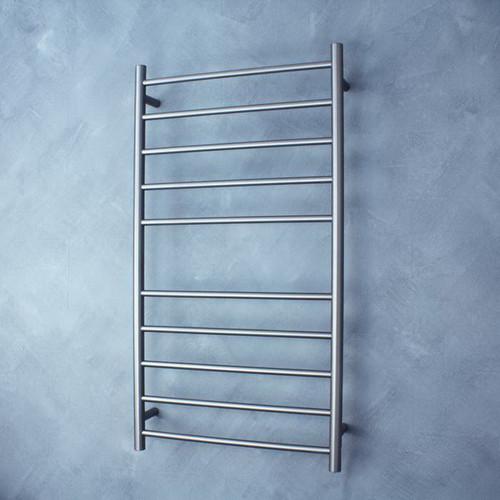 Round Heated Towel Ladder 125W 10 Bar 600 x 1100mm Gun Metal Grey Right Hand Wired [165382]