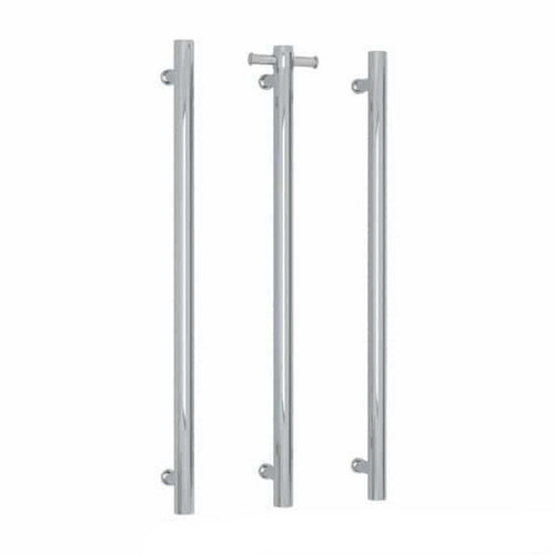 Thermorail Straight Round Vertical Single Bar Heated Towel Rail 30W 142x900mm Polished Stainless Steel [167874]