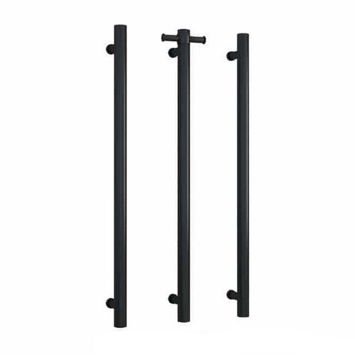 Thermorail Round Vertical Single Bar Heated Towel Rail 30W 142x900mm Matte Black [167875]