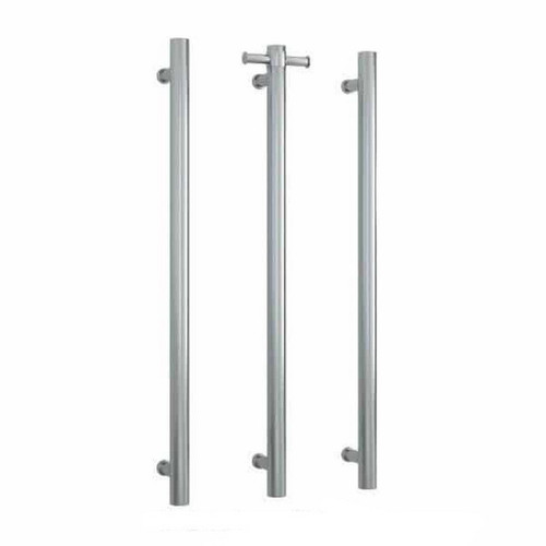 Thermorail Round Vertical Single Bar Heated Towel Rail 30W 142x900mm Brushed Stainless Steel [167876]
