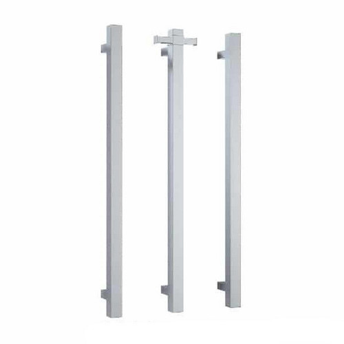 Thermorail Square Vertical Single Bar Heated Towel Rail 30W 142x900mm Polished Stainless Steel [167877]