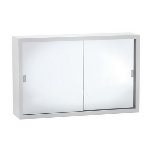 Metal Mirrored Cabinet 600mm Bright White with Glass Mirror [168768]