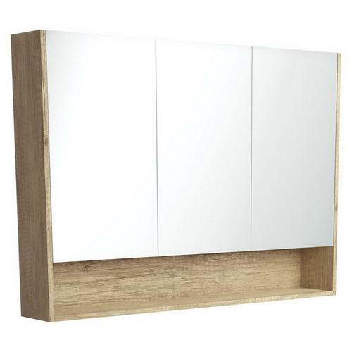 Mirrored Cabinet with Display Shelf 1200mm Scandi Oak [169172]