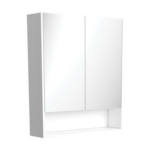 Mirrored Cabinet with Display Shelf 750mm Gloss White [169157]