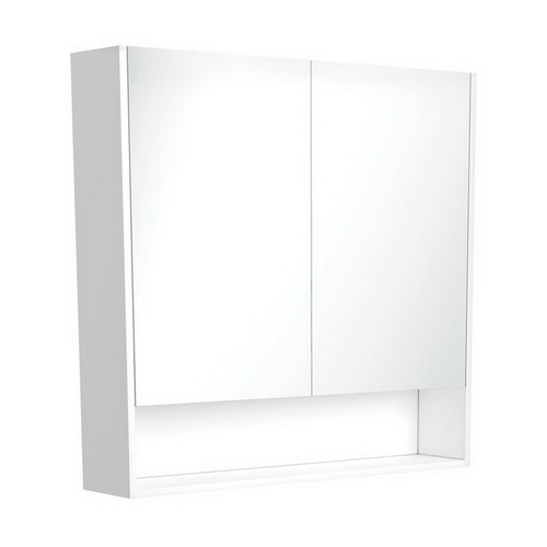 Mirrored Cabinet with Display Shelf 900mm Gloss White [169163]