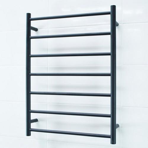 Round Heated Towel Ladder 85W 7 Bar 600 x 800mm Matte Black Left Hand Wired [190548]