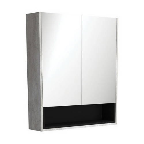 Mirrored Cabinet with Display Shelf 750mm Industrial with Satin Black Insert [191531]