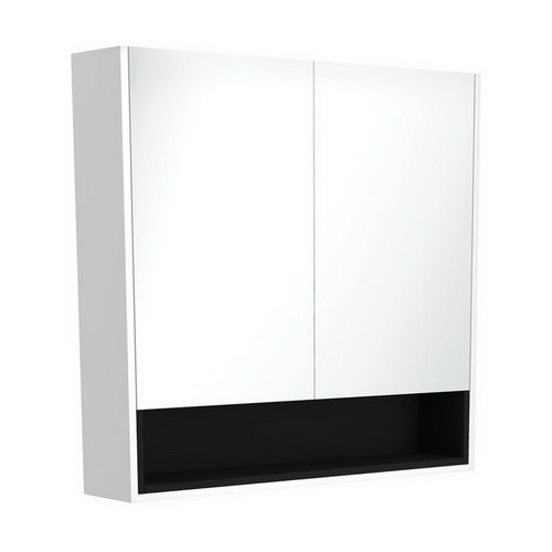 Mirrored Cabinet with Display Shelf 900mm Satin White with Satin Black Insert [191558]