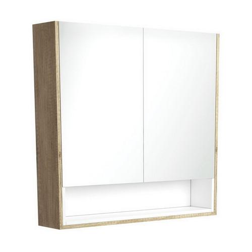 Mirrored Cabinet with Display Shelf 900mm Scandi Oak with Satin White Insert [191562]