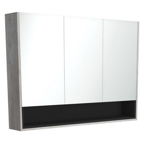 Mirrored Cabinet with Display Shelf 1200mm Industrial with Satin Black Insert [191563]