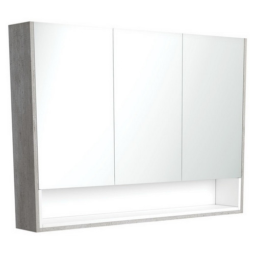 Mirrored Cabinet with Display Shelf 1200mm Industrial with Satin White Insert [191564]