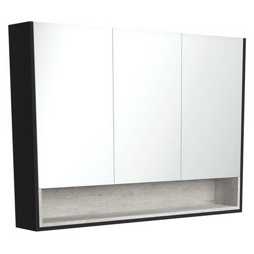 Mirrored Cabinet with Display Shelf 1200mm Satin Black with Industrial Insert [191570]