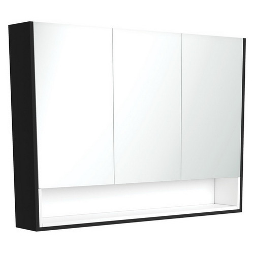 Mirrored Cabinet with Display Shelf 1200mm Satin Black with Satin White Insert [191571]
