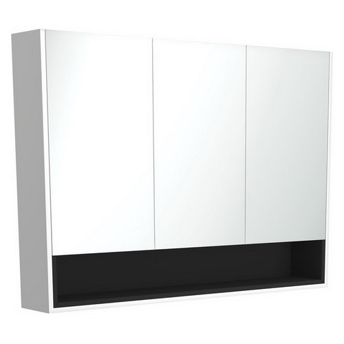 Mirrored Cabinet with Display Shelf 1200mm Satin White with Satin Black Insert [191574]