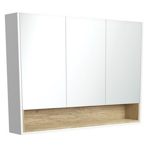 Mirrored Cabinet with Display Shelf 1200mm Satin White with Scandi Oak Insert [191575]