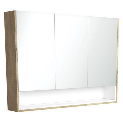 Mirrored Cabinet with Display Shelf 1200mm Scandi Oak with Satin White Insert [191578]