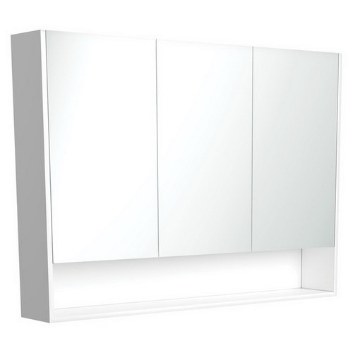 Mirrored Cabinet with Display Shelf 1200mm Satin White [191581]