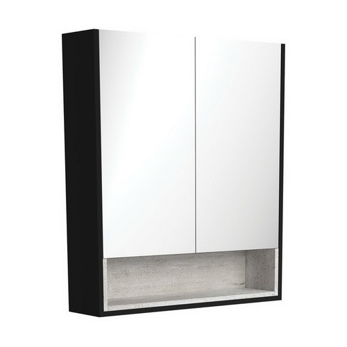 Mirrored Cabinet with Display Shelf 750mm Satin Black with Industrial Insert [191538]