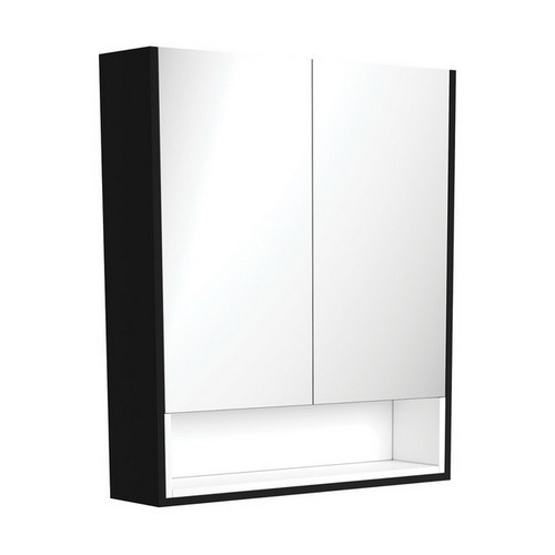 Mirrored Cabinet with Display Shelf 750mm Satin Black with Satin White Insert [191539]