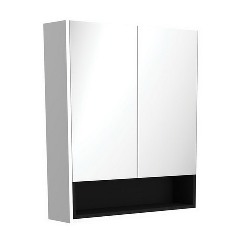 Mirrored Cabinet with Display Shelf 750mm Satin White with Satin Black Insert [191542]