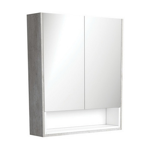 Mirrored Cabinet with Display Shelf 750mm Industrial with Satin White Insert [191532]