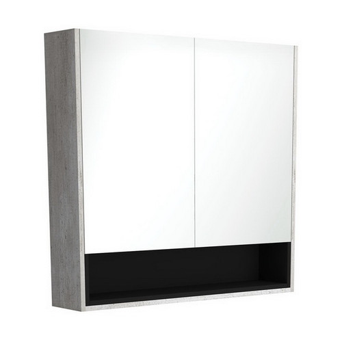 Mirrored Cabinet with Display Shelf 900mm Industrial with Satin Black Insert [191547]