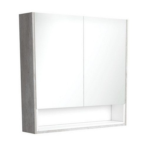 Mirrored Cabinet with Display Shelf 900mm Industrial with Satin White Insert [191548]