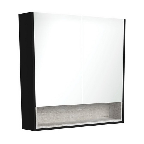 Mirrored Cabinet with Display Shelf 900mm Satin Black with Industrial Insert [191554]