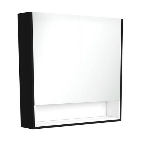 Mirrored Cabinet with Display Shelf 900mm Satin Black with Satin White Insert [191555]