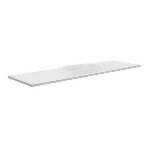 Sarah Bianco Marble 1500 Semi-inset Basin-Top, Single Bowl + Fingerpull Gloss White Cabinet on Kick Board 1 Tap Hole [165879]