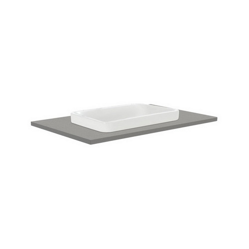 Sarah Dove Grey 750 Semi-Inset Basin-Top + Quest Gloss White Cabinet Wall-Hung 2 Drawer 1 Tap Hole [165918]