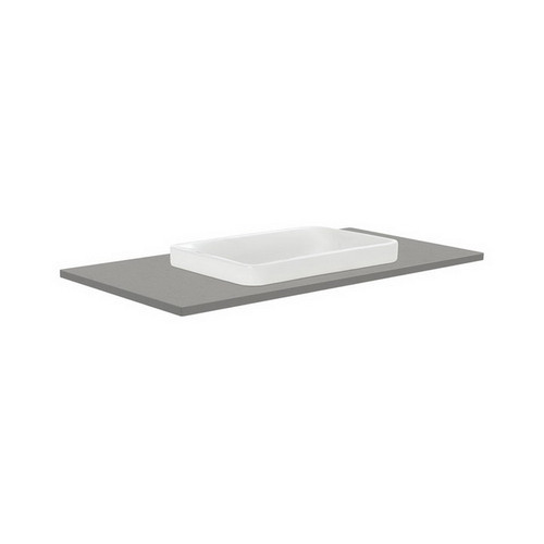 Sarah Dove Grey 900 Semi-Inset Basin-Top + Quest Gloss White Cabinet Wall-Hung 2 Drawer 1 Tap Hole [165920]