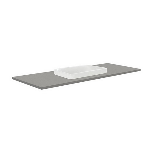 Sarah Dove Grey 1200 Semi-Inset Basin-Top + Quest Gloss White Cabinet on Kick Board 2 Drawer 1 Tap Hole [165921]