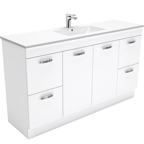 Dolce 1500 Ceramic Moulded Basin-Top, Single Bowl + Unicab Gloss White Cabinet on Kick Board 1 Tap Hole [165275]