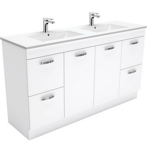 Dolce 1500 Ceramic Moulded Basin-Top, Double Bowl + Unicab Gloss White Cabinet on Kick Board 1 Tap Hole [165276]