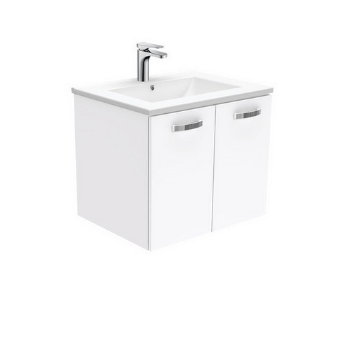 Dolce 600 Ceramic Moulded Basin-Top + Unicab Gloss White Cabinet Wall-Hung 1 Tap Hole [165259]